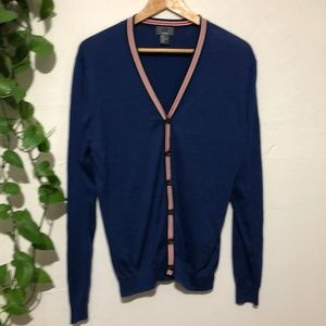 H&M Silk Blend Royal Blue Varsity Jacket Cardigan